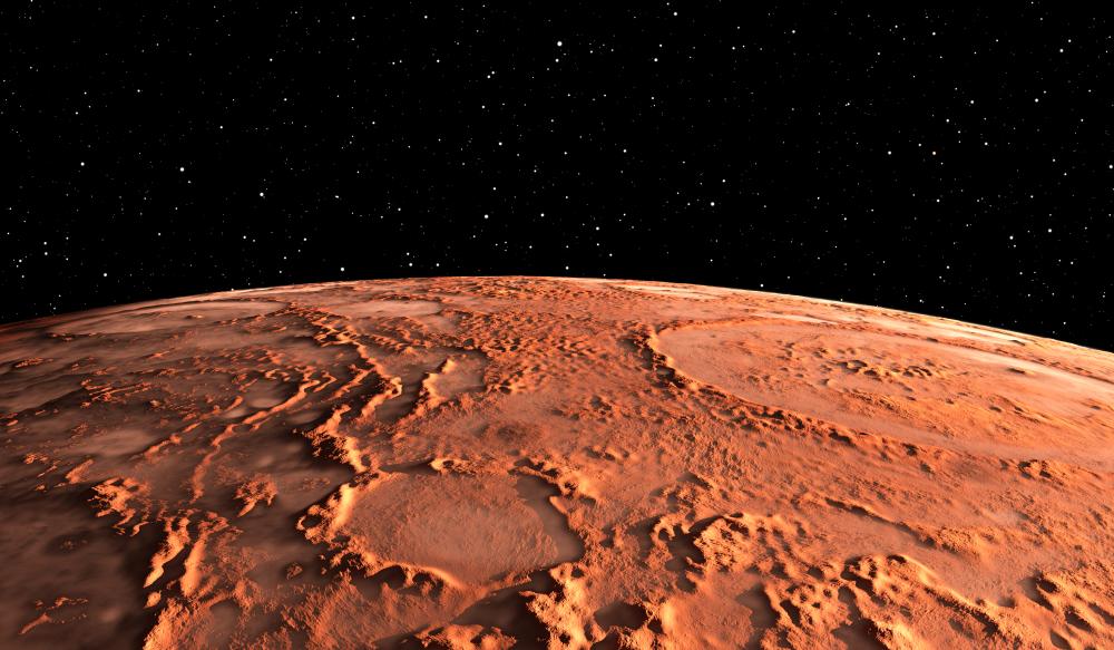 """shutterstock 1041249343 - Der Planet Mars ist """"am größten und hellsten""""."""